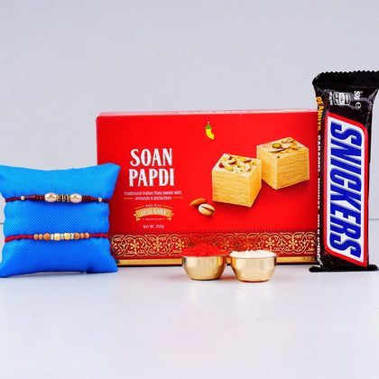 Beaded Rakhi with Soan Papdi Sweet Hamper To Europe