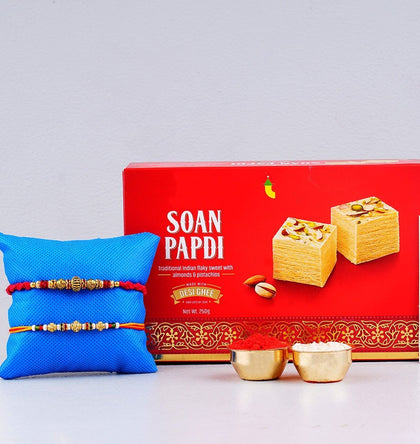 Soan Papdi Sweet with Two Sizzling Rakhi To UK
