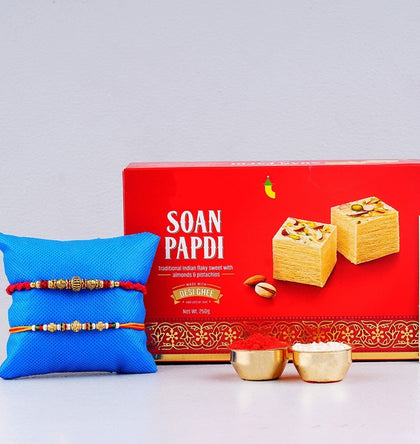 Soan Papdi Sweet with Two Sizzling Rakhi To Europe