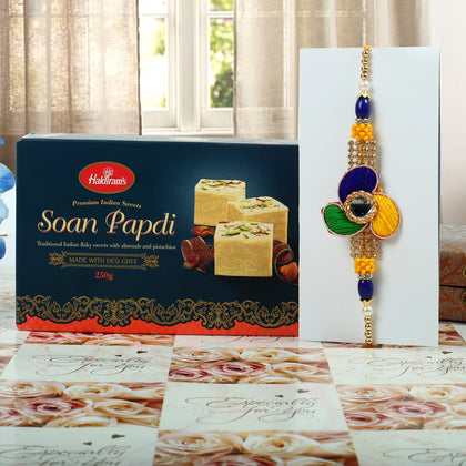 Tri Colour Rakhi with Soan Papdi Sweet To UK