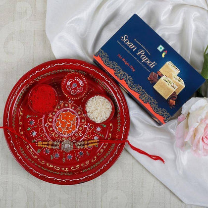 Ik Onkar Rakhi with Soan Papdi Sweet & Puja Thali To Europe