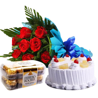 Special love combo gift, Best Love Proposal combo of 3 with a round vanilla cake, a beautiful red colored roses bouquet and a tasty pack of chocolates - Expressluv.in