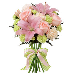 Triplate with Roses, Lillies and Carnations  - Expressluv.in