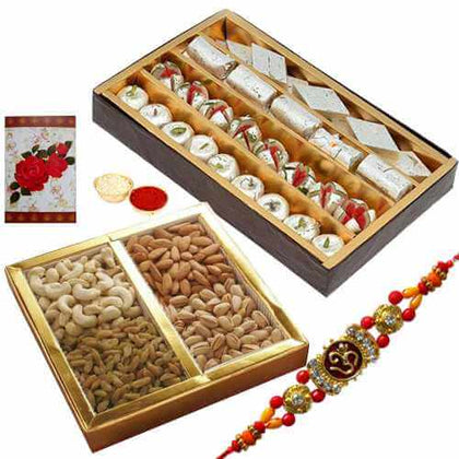 1 Rakhi with 500 Gms. Assorted Sweets n 500 Gms. Assorted Dry Fruits with Roli and Tika and a free message card - USA
