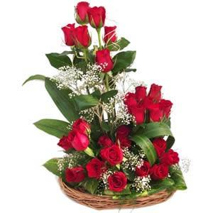 Arrangement of 30 roses in basket
