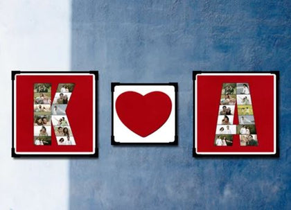 Alphabet Photo Collage with Love of blue color rectangle in shape with a heart in centre - Expressluv.in