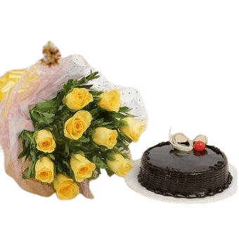 Chocolate Surprise Cake 500 grams and Yellow Roses Bunch
