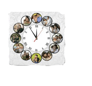12 Photos Table Clock