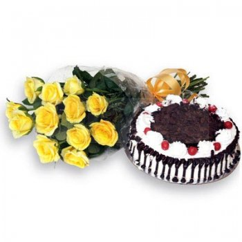 Yellow Roses with Black Forest cake  - Expressluv.in