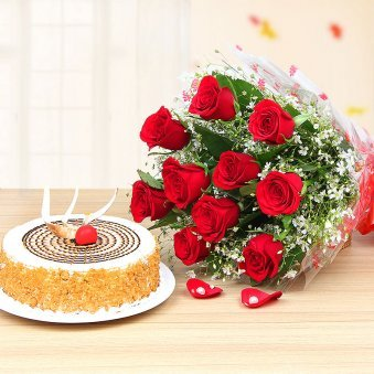 Butterscotch Cake 500 grams and Red Roses Bouquet