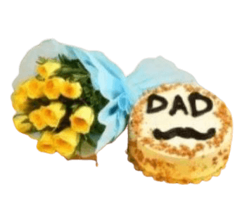 Cake for Dad 500 grams and Yellow Roses Bunch