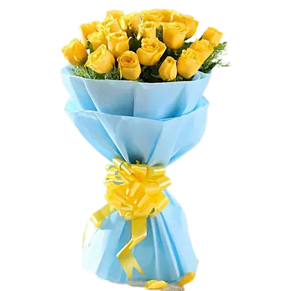 Yellow Roses in Blue Packing