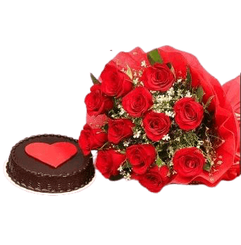 Chocolate Love Cake 500 grams and Red RosesBouquet