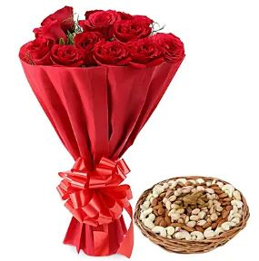 Dry Fruits and Red Roses Bouquet