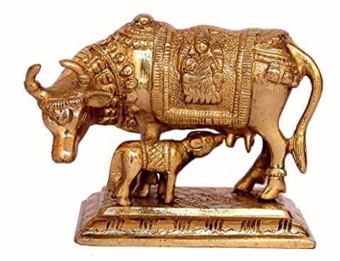 Kamdhenu Cow with Calf Brass Sculpture Idol