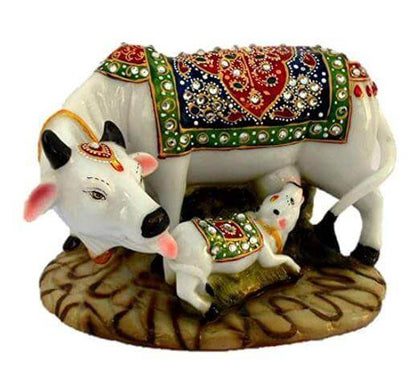 Decorative Marble Cow and Calf Idol