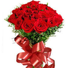 a beautiful red color roses bouquet with beautiful ribbon for a beautiful girl send gift online, bouquet valentine's day - Expressluv.in
