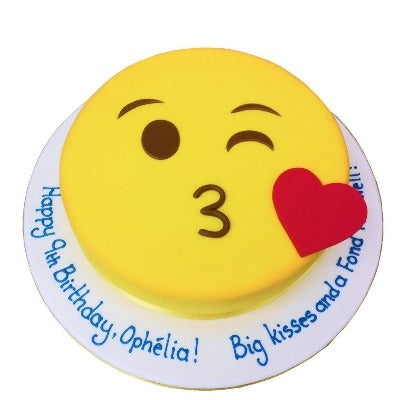 Emoji Luv, happy birthday emoji cake, kissy face emoji cake  - Expressluv.in