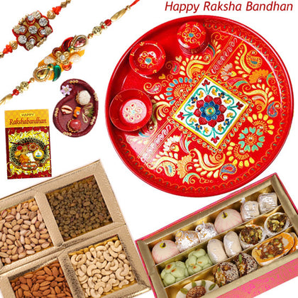 set of rakhi with thali , dry fruits and sweets for brother
