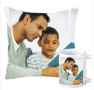 order gift for Dad online with expressluv, best combo of personalized pillow and mug
