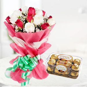 order mixed roses bunch and ferrero rocher online delivery