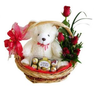 Sweet Teddy Chocolate Flowers Surprise