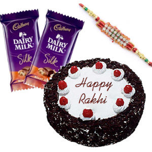 combo of cake, rakhi and chocolates including 2 dairy milk combo set for rakhi delivery to brother, order online