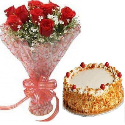 ButterScotch cake With Bunch of Red Roses