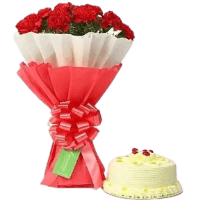 Butterscotch Yummy Cake 500 grams and Red Roses Bouquet