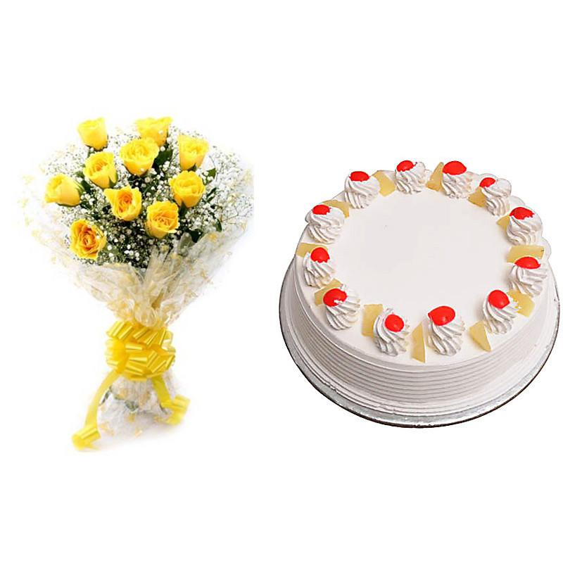 Yellow Roses with Pine Apple cake  - Expressluv.in