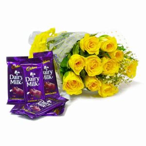 dairy milk and yellow roese bouquet combo online delivery \