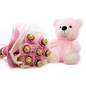 best ferrero rocher bouquet and pink teddy bear for sister and girlfriend combo online delivery