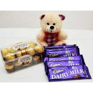 bwat girlfriend birthday combo online with eddy bear, ferrero rocher and dairy milk online delivery