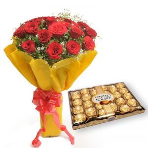 24pc Ferrero Rocher and Red Roses Bunch