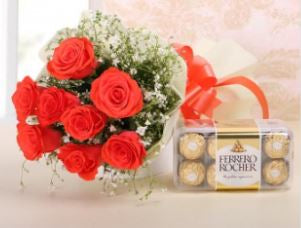 Ferrero Rocher and Red Roses Bunch