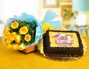Photo Cake 1 KG and Yellow Roses Bunch
