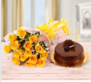 Yellow Roses Bunch and Chocolate Cake