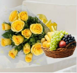 Yellow Roses Bunch and Fruits Basket