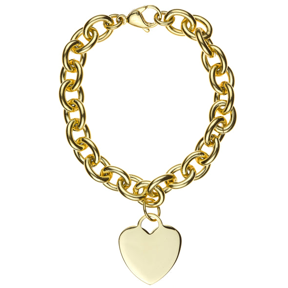 Stainless Steel Gold Heart Tag Bracelet