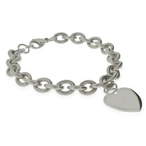 Stainless Steel Heart Toggle Bracelet