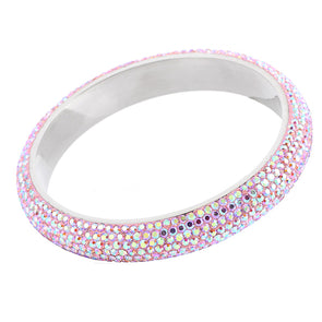 7 Row Austrian Crystal Bangle in Pink Aurore Boréale