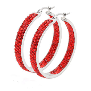 Austrian Crystal Hoop Earrings in Red