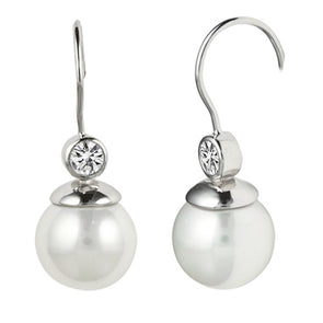 Bella Bezel Set Pearl Drop Earrings