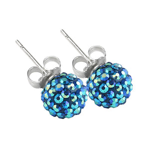 Blue Boreale 8mm Crystal Ball Studs