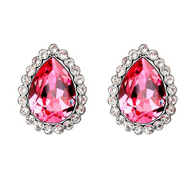 Swarovski Elements Pear Cut Earrings in Pink