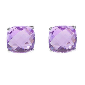 9mm Cushion Cut Stud in Lilac CZ