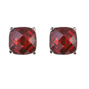 9mm Cushion Cut Stud in Ruby Red CZ