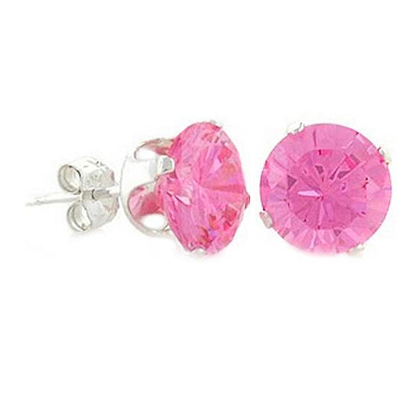 2 Carat (8mm) Pink CZ Invisible Setting Earrings