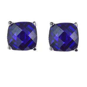 9mm Cushion Cut Stud in Sapphire Blue