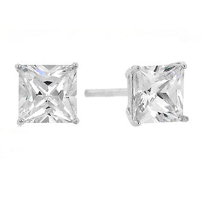 .75 Carat (6mm) Princess Cut CZ Earrings